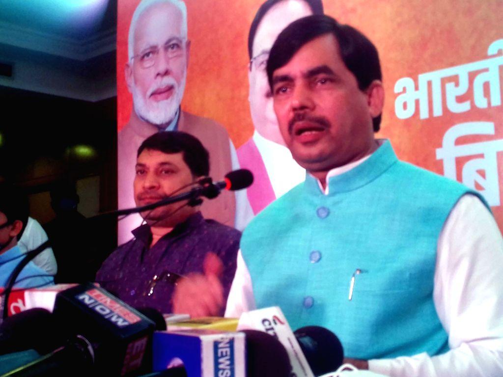 BJP national spokesperson Shahnawaz Hussain addresses a press conference in Patna on Sep 19, 2020.