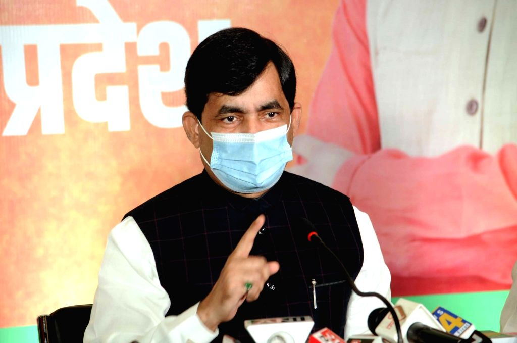 BJP national spokesperson Shahnawaz Hussain addresses a press conference ahead of Bihar Assembly elections, in Patna on Oct 20, 2020.