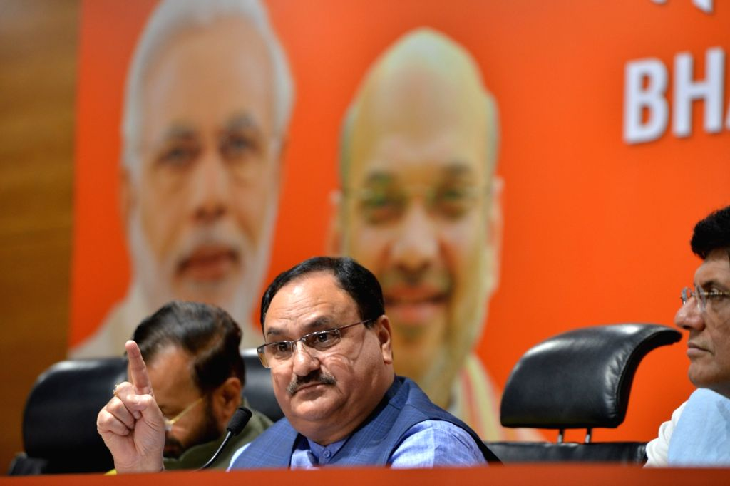 BJP National Working President J.P. Nadda addresses a press conference at the party's headquarters in New Delhi on July 26, 2019.
