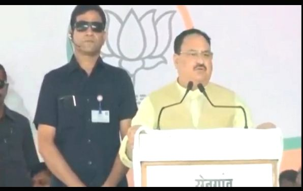 BJP National Working President J.P. Nadda addresses a public meeting in Hingoli, Maharashtra on Oct 17, 2019.