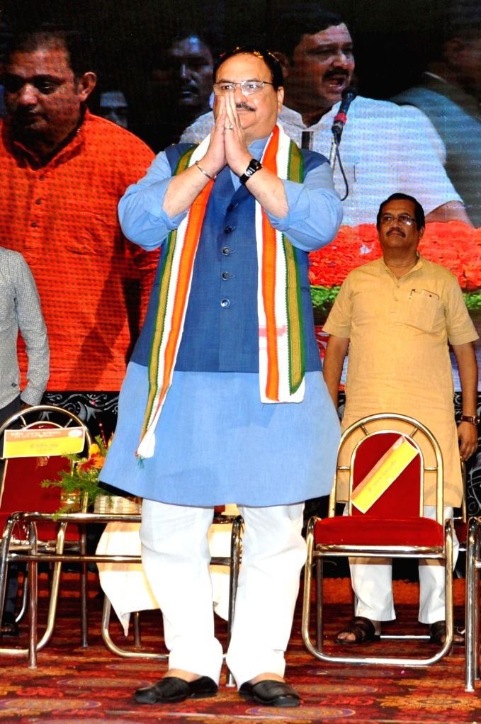 BJP National Working President J.P. Nadda during 'Jan Jagran' programme on Article 370 in Kolkata, on Sep 27, 2019.