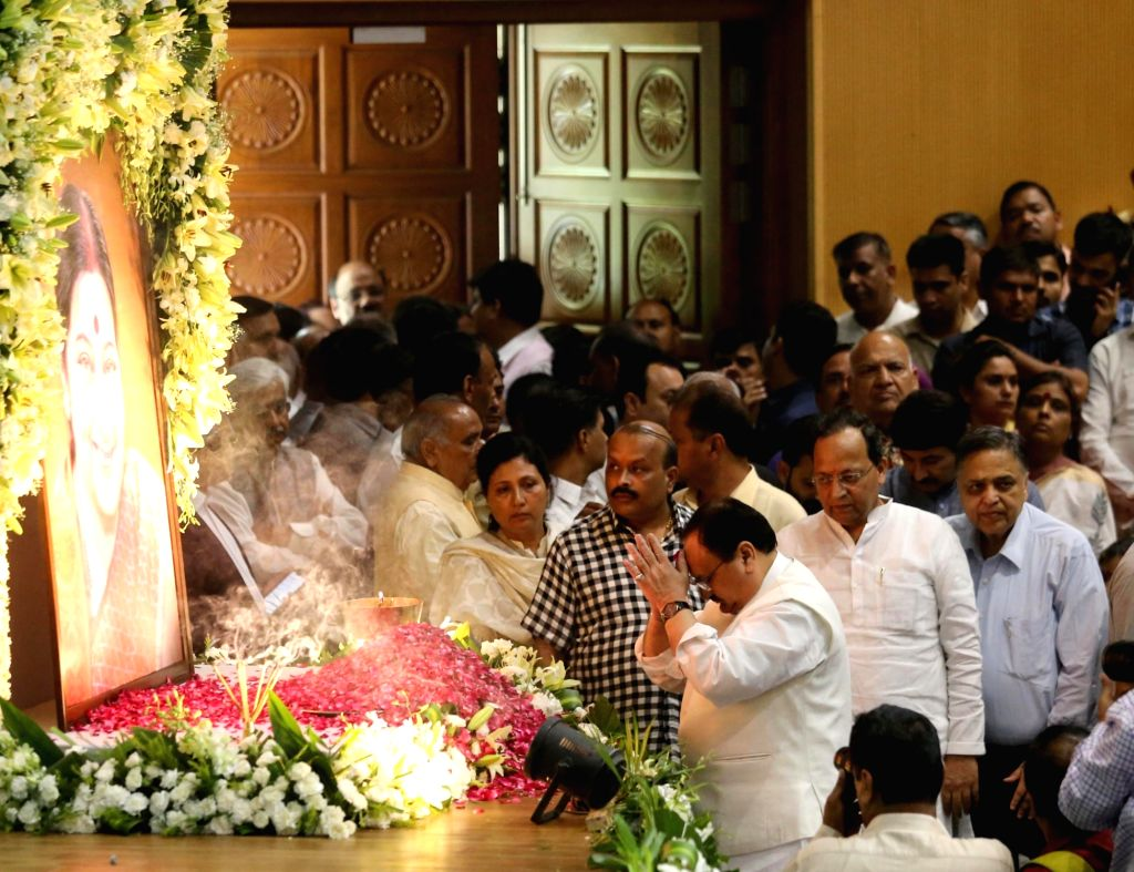 BJP National Working President J.P. Nadda pays tributes to Former External Affairs Minister Late Sushma Swaraj during a condolence meeting held in her memory, in New Delhi on Aug 9, 2019. - Late Sushma Swaraj