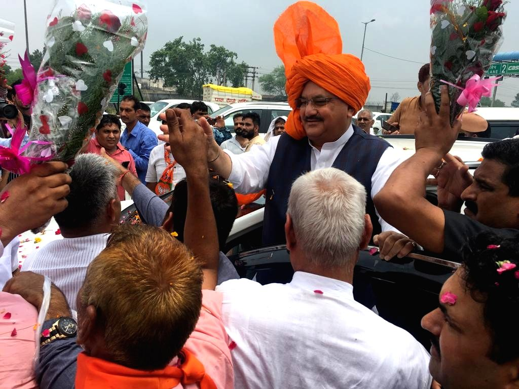 BJP National Working President J.P. Nadda who is on a two-day visit to Haryana, receives a warm welcome from party workers on his arrival in Gurugram, on July 27, 2019.