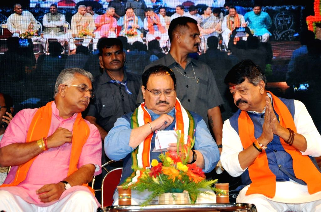 BJP National Working President J.P. Nadda with party National General Secretary Kailash Vijayvargiya and West Bengal party President Dilip Ghosh during 'Jan Jagran' programme on Article 370 ... - Dilip Ghosh