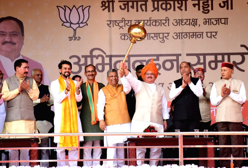 BJP National Working President J.P. Nadda with Union Minister Anurag Thakur, Himachal Pradesh Chief Minister Jai Ram Thakur, State BJP Spokesperson Randhir Sharma and other dignitaries ... - Anurag Thakur and Randhir Sharma