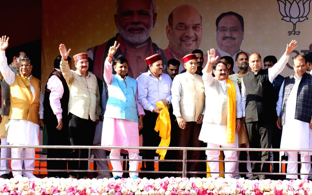 "BJP National Working President J.P. Nadda with Himachal Pradesh Chief Minister Jai Ram Thakur and State BJP Spokesperson Randhir Sharma during ""Abhinandan Samaroh"" organised to ... - Jai Ram Thakur and Randhir Sharma"