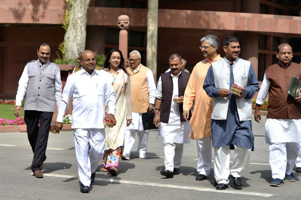 BJP Parliamentarian leave after attending the BJP Parliamentary party meeting at Parliament house library, in New Delhi on March 16, 2017.