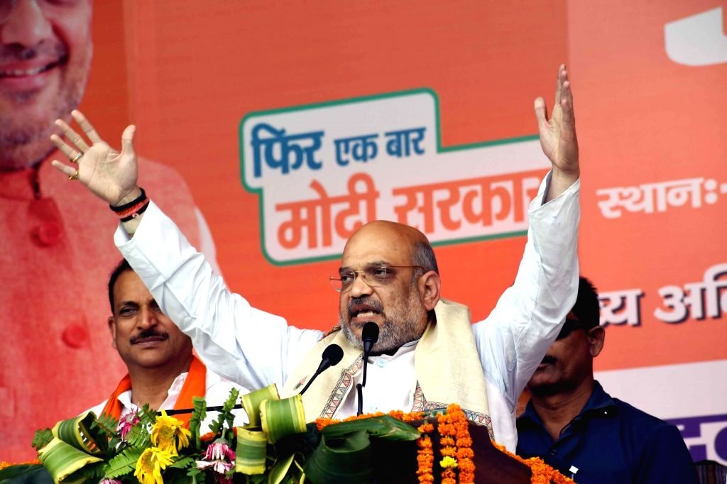 BJP President Amit Shah addresses during an election campaign rally for ahead of Lok Sabha polls, in Chhapra of Bihar's Saran district, on April 28, 2019. - Amit Shah