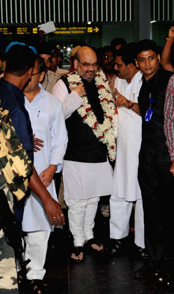 BJP president Amit Shah arriving at NSC Bose Airport in Kolkata on Sep 6, 2014.