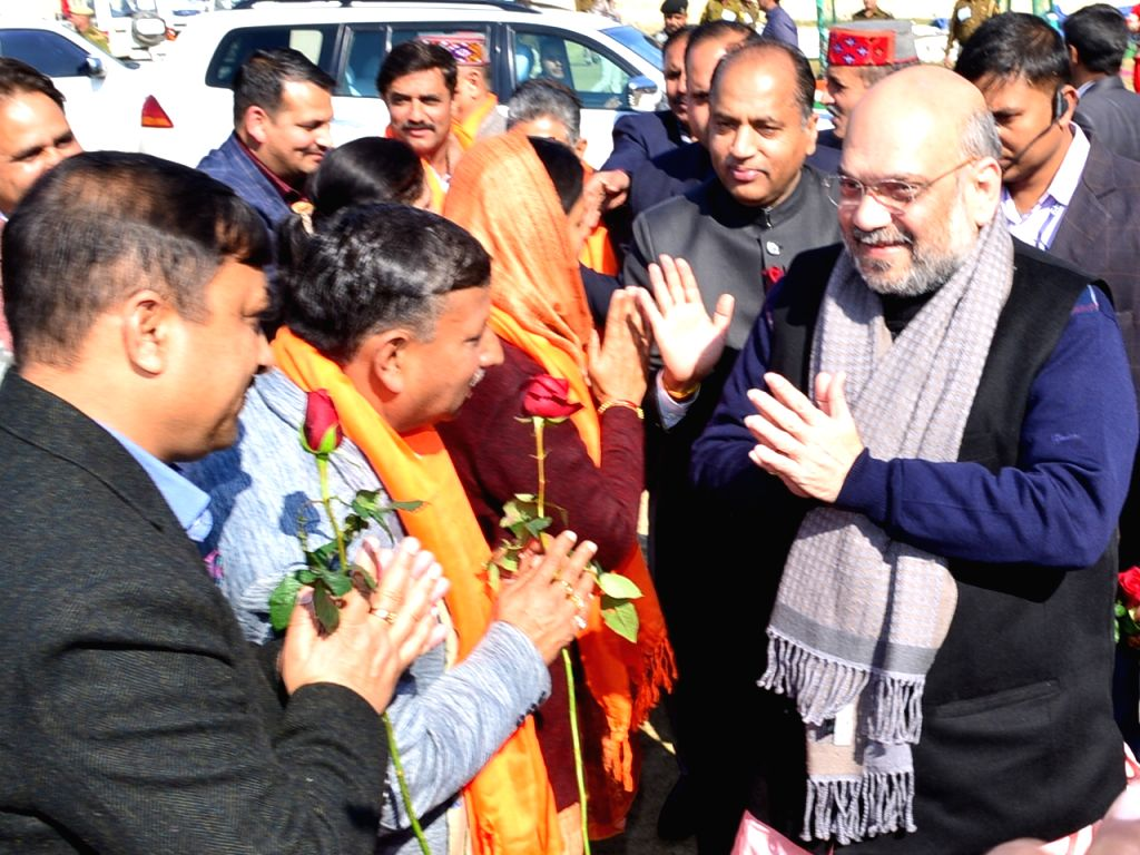 BJP President Amit Shah being greeted by party leaders on his arrival at a party meeting in Una, Himachal Pradesh on Jan 28, 2019. - Amit Shah