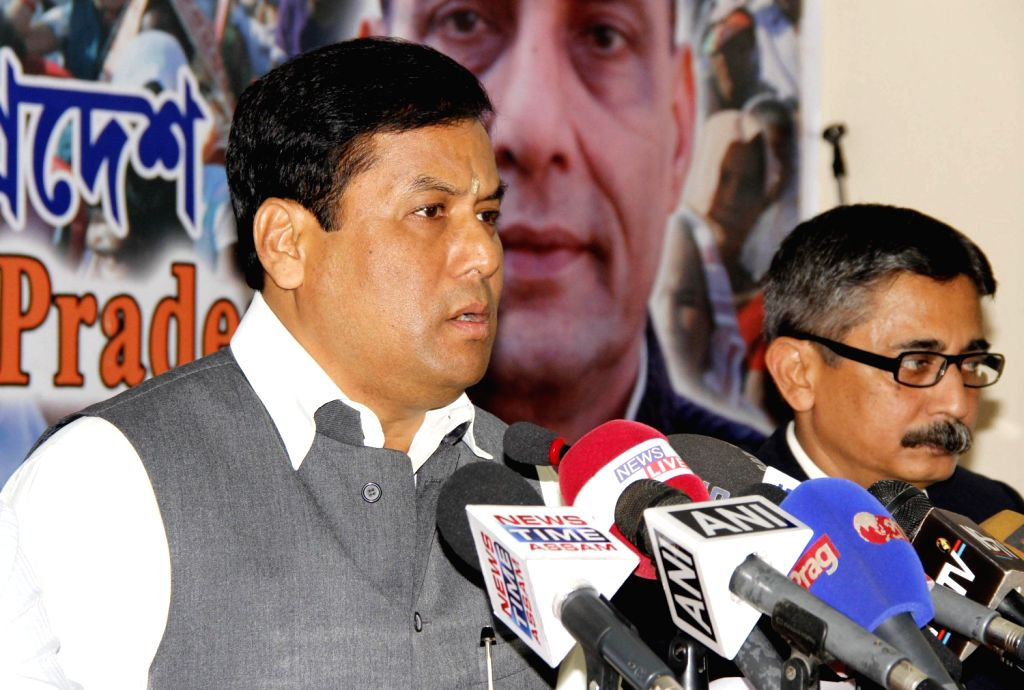 BJP President for Assam Sarbananda Sonowal addresses a press conference regarding `Statue of Unity` rally which is scheduled to be held on 15th Dec, in Guwahati on Dec.13, 2013.