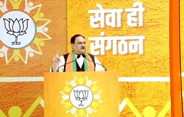BJP President JP Nadda addresses during 'Seva Hi Sangathan' programme where Prime Minister Narendra Modi reviewed the relief work done by BJP workers during corona crisis through video ... - Narendra Modi