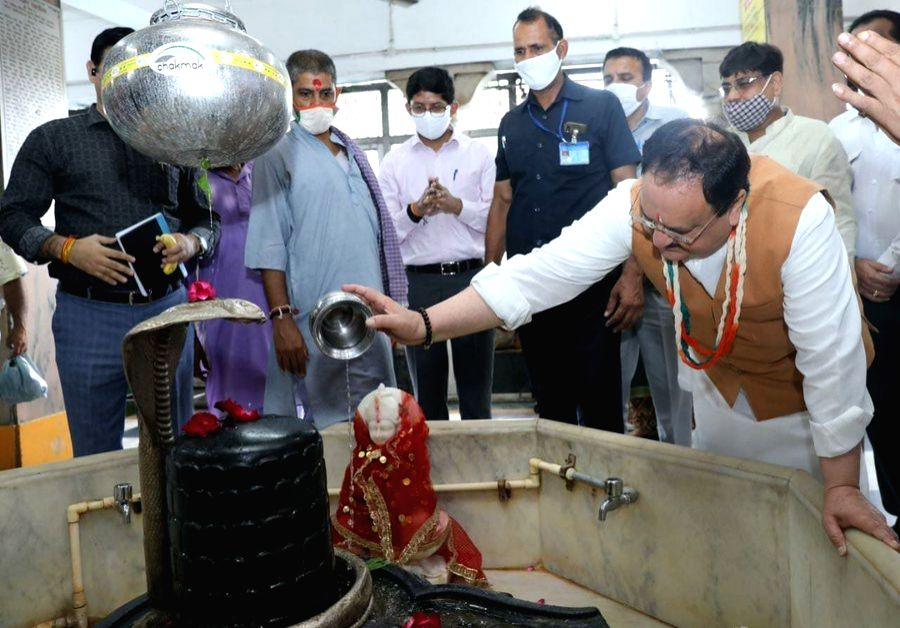 BJP President JP Nadda offered prayers at the ancient Hanuman temple in Connaught Place, Delhi.