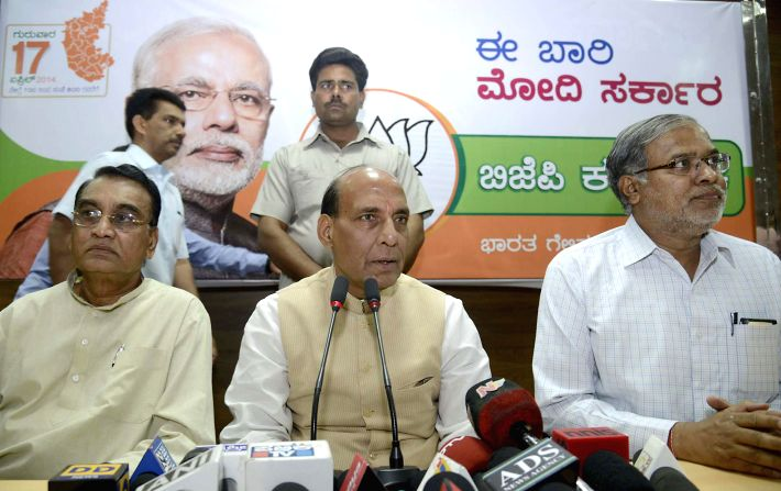 BJP president Rajnath Singh addresses a press conference in Bangalore on April 9, 2014.