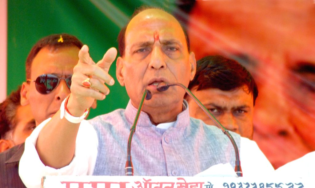 BJP president Rajnath Singh addresses a rally in Agra on April 20, 2014.