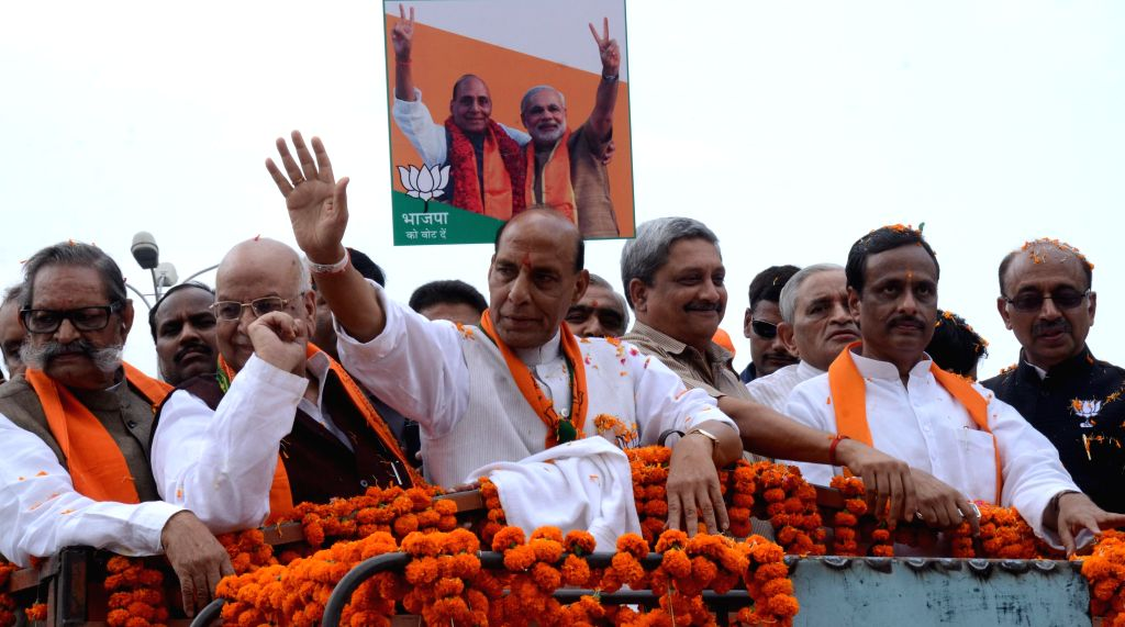BJP president Rajnath Singh during a roadshow in Lucknow on April 27, 2014.