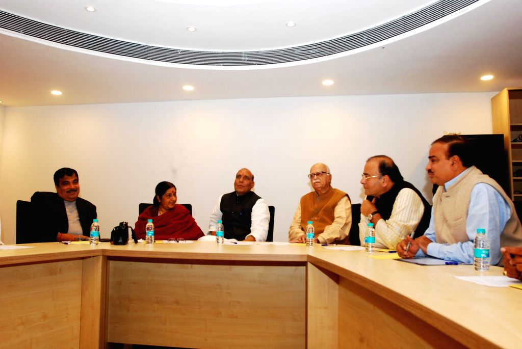 BJP President Rajnath Singh presiding over the party's Core Committee meeting in New Delhi on Feb. 1, 2013. Senior Party leaders L K Advani, Sushma Swaraj, Arun Jaitely, Nitin Gadkari and others - Sushma Swaraj, Rajnath Singh and L K Advani