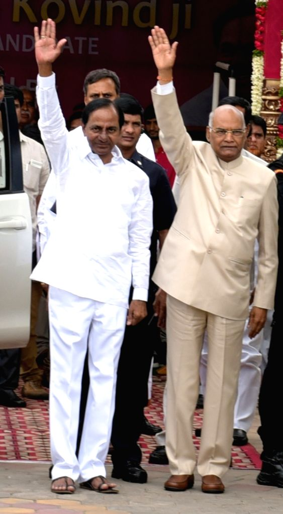 BJP Presidential nominee Ram Nath Kovind being felicitated by YSR congress president Jagan Mohan Reddy at a meeting held with party's MPs and Legislators in Hyderabad, on July 4, 2017. - Nath Kovind and Jagan Mohan Reddy