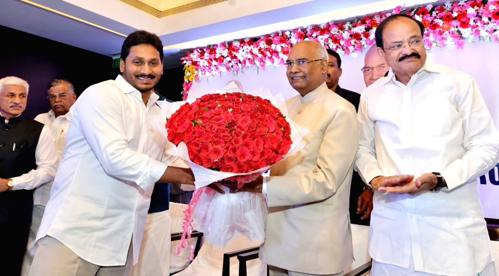 BJP Presidential nominee Ram Nath Kovind  with Telangana chief Minister K C Rao at a meeting in Hyderabad, on July 4, 2017. - K C Rao and Nath Kovind