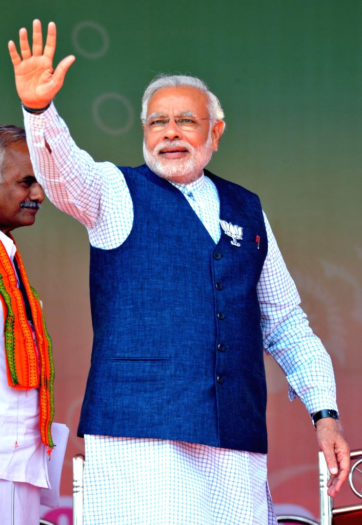 BJP Prime Ministerial candidate and Gujarat Chief Minister Narendra Modi during a rally in Erode on April 17, 2014.