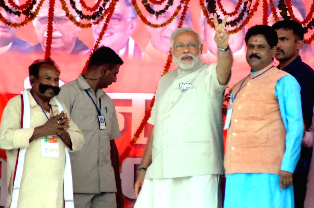 BJP Prime Ministerial candidate and Gujarat Chief Minister Narendra Modi during a rally at Barwari in Kaushambi district of Uttar Pradesh on May 5, 2014.