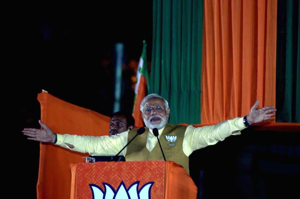 BJP Prime Ministerial candidate and Gujarat Chief Minister Narendra Modi during an election campaign in Kolkata on May 7, 2014.