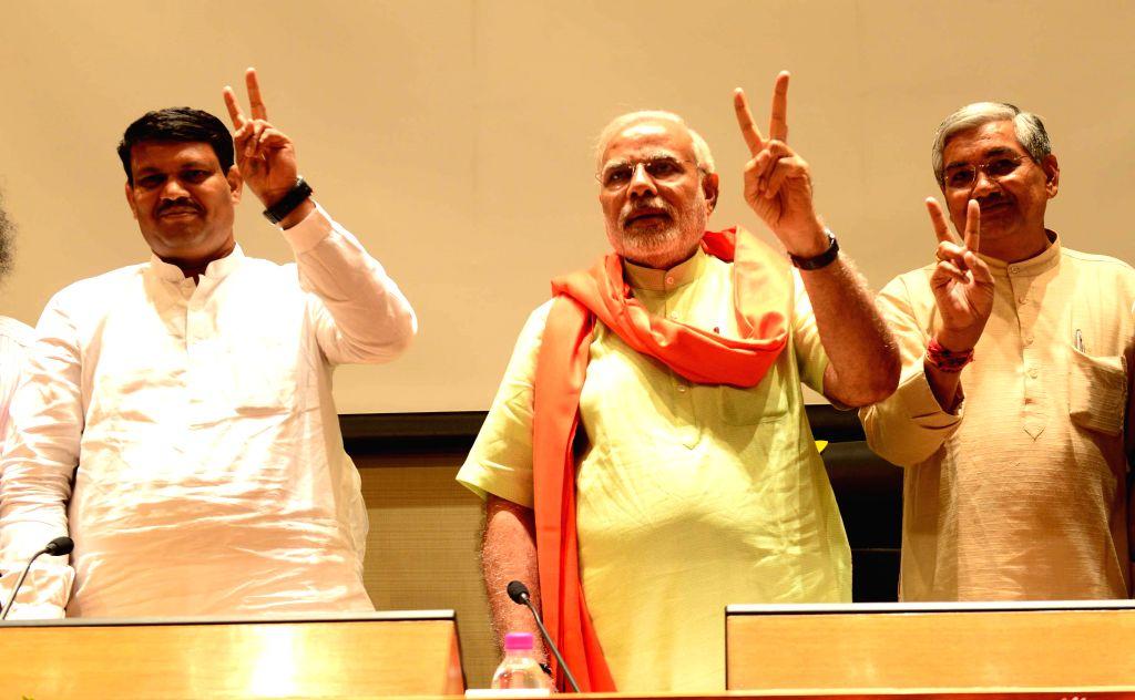 BJP Prime Ministerial candidate and Gujarat Chief Minister Narendra Modi during a meeting with Gujarat legislators in Gandhinagar on May 13, 2014. - Narendra Modi
