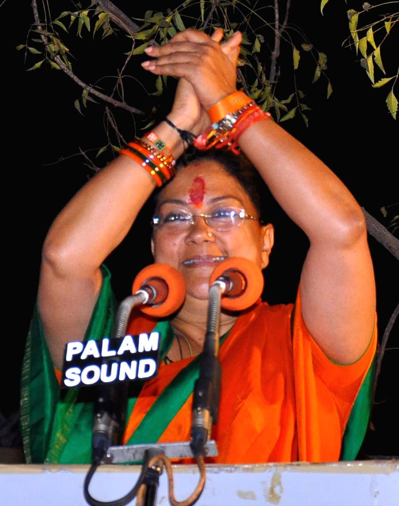 BJP Rajsthan President Vasundhara Raje addresses supporters after party's win in the Rajasthan assembly polls in Jaipur on Dec.8, 2013.