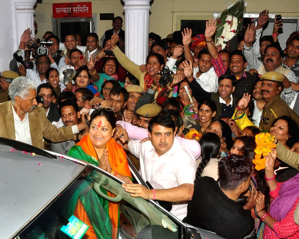 BJP Rajsthan President Vasundhara Raje arrives to address supporters after party's win in the Rajasthan assembly polls in Jaipur on Dec.8, 2013.