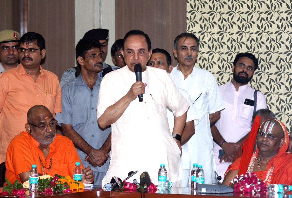 BJP Rajya Sabha MP Subramanian Swamy addresses during a meeting organised by the Akhil Bharatiya Sant Samiti on Ram Janmabhoomi issue, in New Delhi on Aug 10, 2019.
