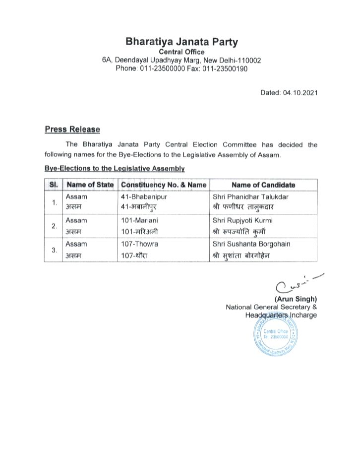 BJP released the list for the Assam Assembly by-elections - these people got tickets.