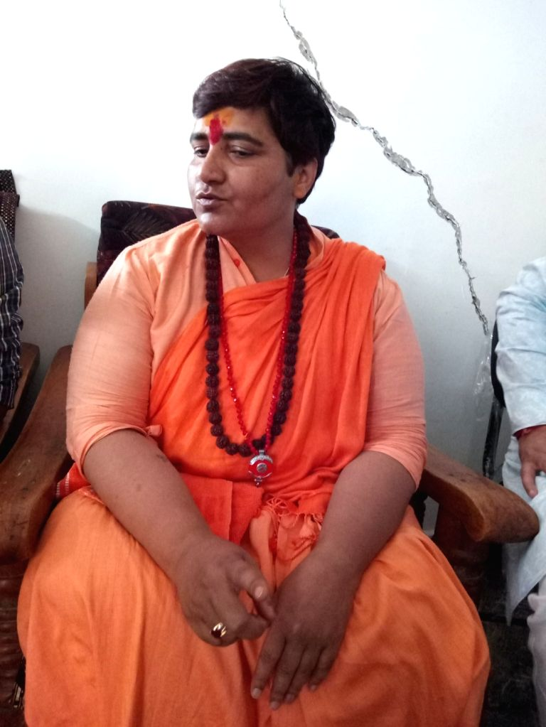 BJP's candidate from Bhopal, Sadhvi Pragya Singh Thakur during an interactive session after Election Commission's 72 hour campaign ban on her that ended Sunday, in Bhopal, on May 5, 2019.