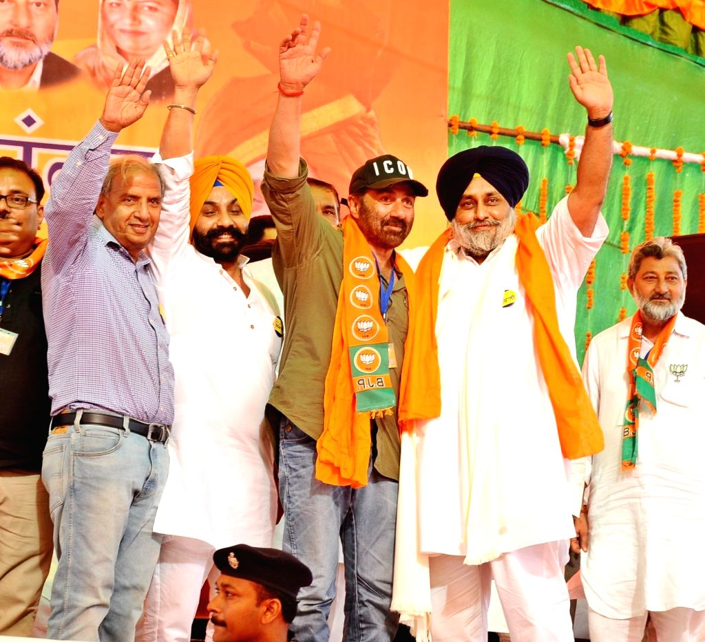 BJP's candidate from Gurdaspur, Sunny Deol with Shiromani Akali Dal (SAD) President and party's Lok Sabha candidate from Ferozepur, Sukhbir Singh Badal during a public rally ahead of the ... - Sukhbir Singh Badal