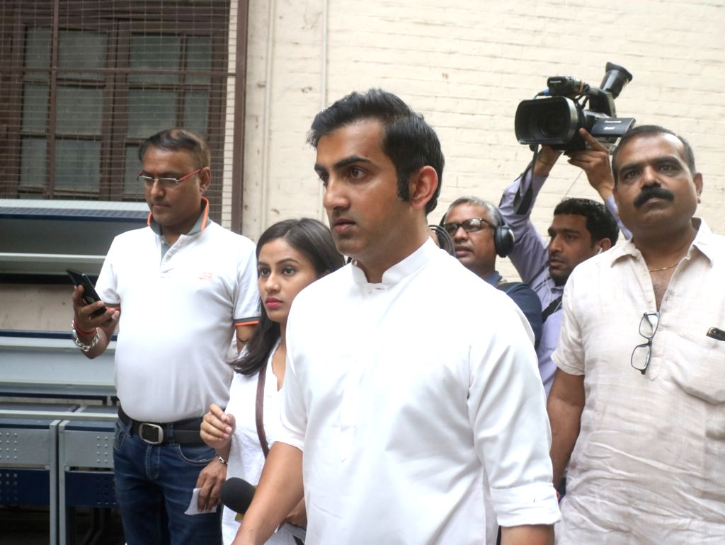 BJP's Lok Sabha candidate for East Delhi, Gautam Gambhir arrives to cast vote during the sixth phase of 2019 Lok Sabha elections, in New Delhi on May 12, 2019.