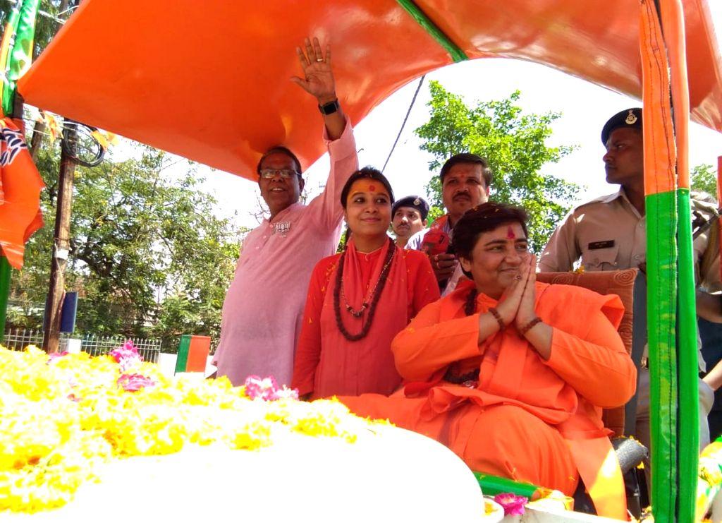 BJP's Lok Sabha candidate from Bhopal, Sadhvi Pragya Singh Thakur during a roadshow ahead of 2019 Lok Sabha elections, in Bhopal on April 24, 2019.