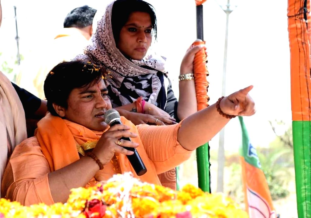 BJP's Lok Sabha candidate from Bhopal, Sadhvi Pragya Singh Thakur addresses during a roadshow ahead of 2019 Lok Sabha elections, at Neelbad in Bhopal on April 26, 2019.