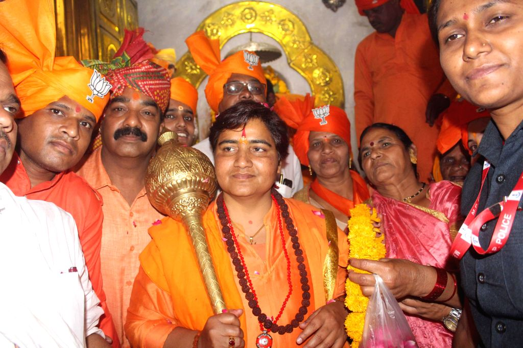 BJP's Lok Sabha candidate from Bhopal, Sadhvi Pragya Singh Thakur during an election campaign ahead of the 2019 Lok Sabha elections, in Bhopal on April 27, 2019.