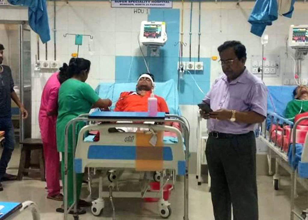 BJP's Lok Sabha candidate from Bongaon, Shantanu Thakur being treated at Bangaon Super Speciality Hospital after he sustained serious head injury when his car collided with a police vehicle ...