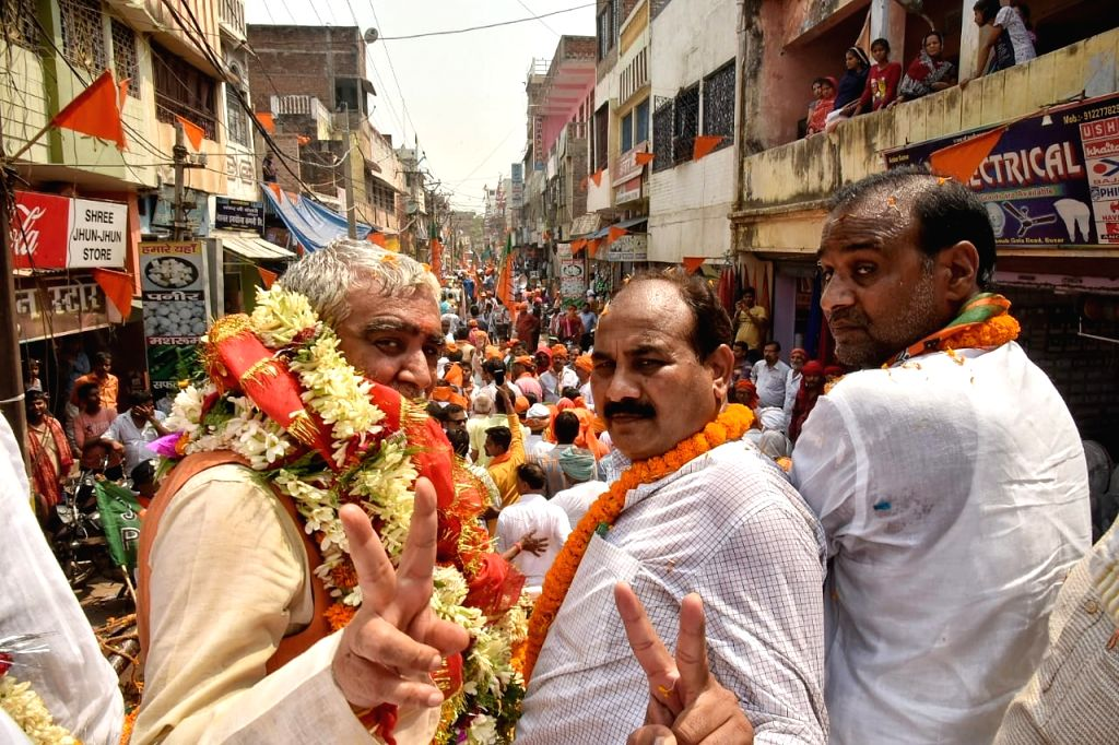 BJP's Lok Sabha candidate from Buxar, Ashwini Kumar Chaubey during a roadshow ahead of filing his nomination for the forthcoming Lok Sabha elections, in Bihar's Buxar on April 26, 2019. - Ashwini Kumar Chaubey