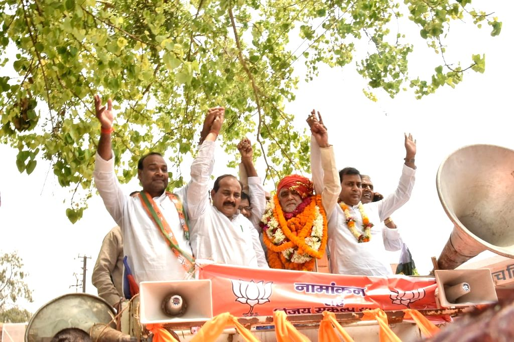 BJP's Lok Sabha candidate from Buxar, Ashwini Kumar Chaubey during a roadshow ahead of filing his nomination for the forthcoming Lok Sabha elections, in Bihar's Buxar on April 26, 2019. - Ashwini Kumar Chaubey