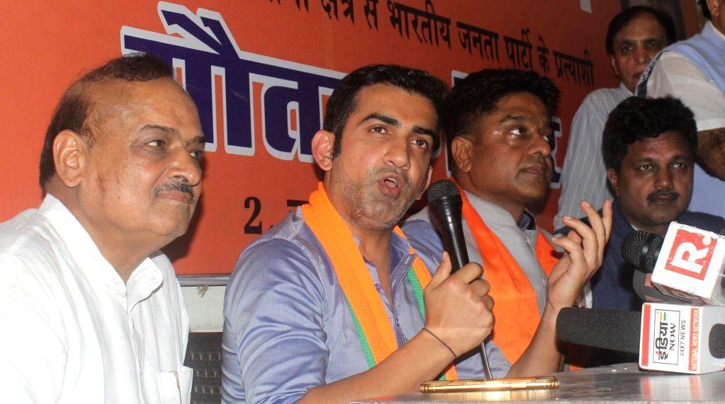 BJP's Lok Sabha candidate from East Delhi, Gautam Gambhir addresses a press conference in New Delhi, on April 25, 2019.