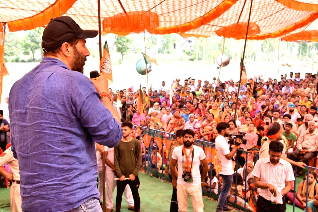 BJP's Lok Sabha candidate from Gurdaspur, Sunny Deol addresses at an election campaign for the forthcoming Lok Sabha polls, in Pathankot, on May 12, 2019.