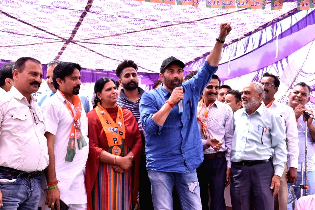 BJP's Lok Sabha candidate from Gurdaspur, Sunny Deol during an election campaign for the forthcoming Lok Sabha polls, in Pathankot, on May 12, 2019.