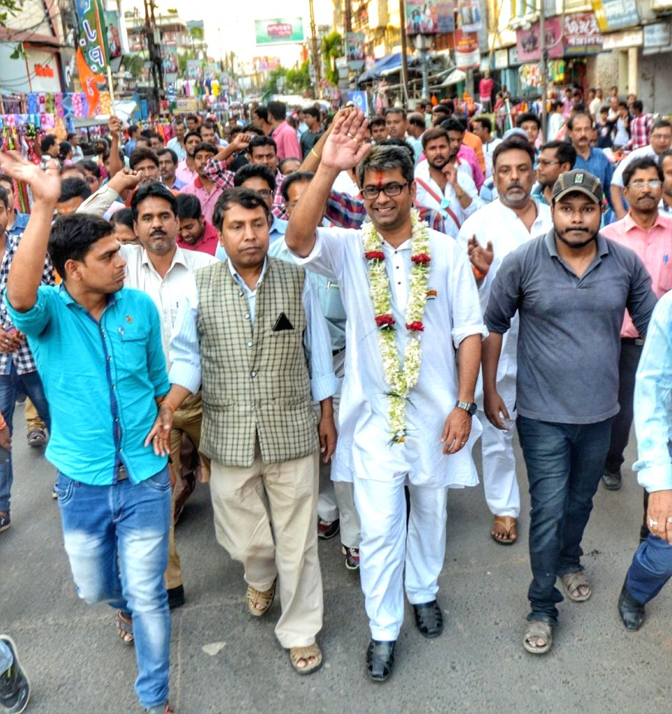BJP's Lok Sabha candidate from Krishnanagar, Kalyan Chaubey during an election campaign for the forthcoming Lok Sabha elections, at Krishnanagar in West Bengal's Nadia on April 27, 2019.