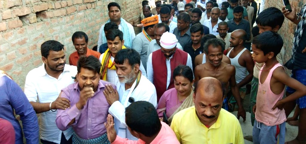 BJP's Ram Kripal Yadav during an election campaigns ahead of the Lok Sabha elections, in Bihar's Danapur on April 10, 2019. - Kripal Yadav