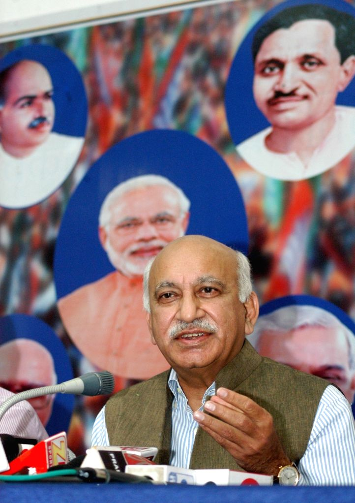 BJP spokesperson MJ Akbar addresses a press conference in Kolkata on April 18, 2016.