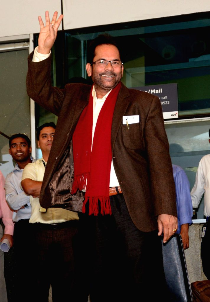 BJP spokesperson Mukhtar Abbas Naqvi arrives at Chhatrapati Shivaji International Airport to oversee the preparations for party's Prime Ministerial candidate and Gujarat Chief Minister Narendra . - Narendra Modis