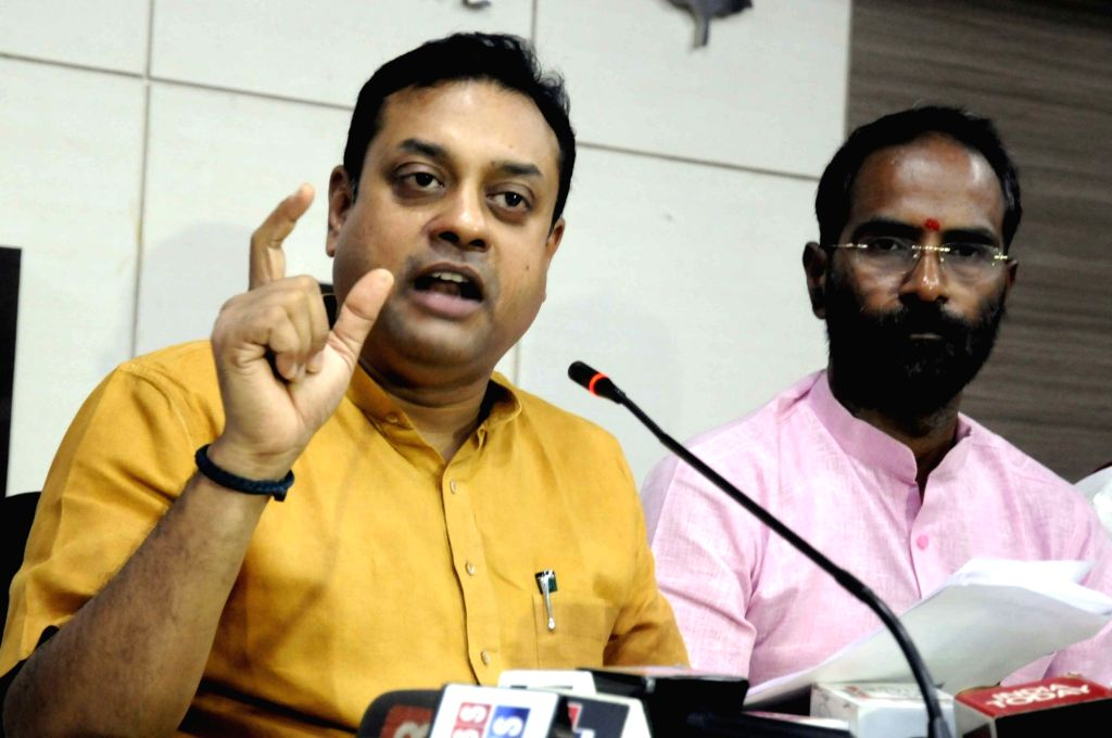 BJP spokesperson Sambit Patra addresses a press conference at the party office, in Patna on July 9, 2018.