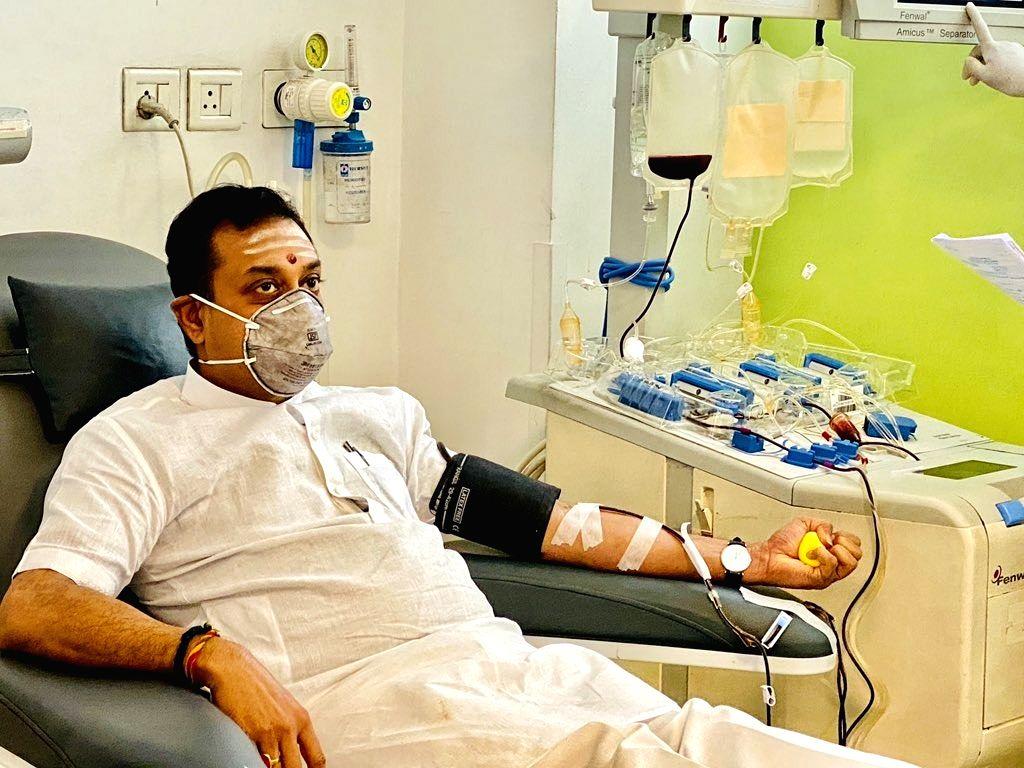 BJP Spokesperson Sambit Patra donates plasma at Medanta hospital in Gurugram on July 6, 2020. Patra was admitted to Medanta hospital on May 28 after showing symptoms of coronavirus.