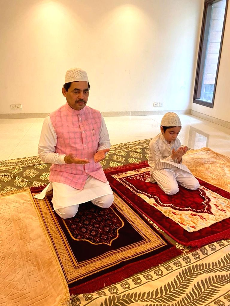 BJP Spokesperson Shahnawaz Hussain offers namaz on the occasion of Eid-Ul-Zuha at his residence in New Delhi on Aug 1, 2020.